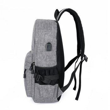 Men Casual Durable Canvas Backpack with USB Port - BLACK