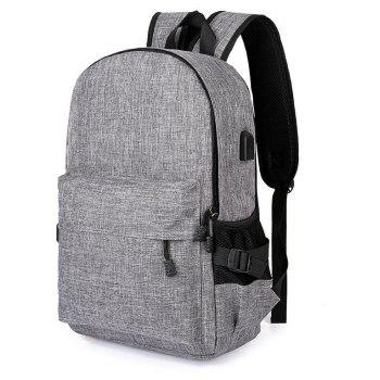 Men Casual Durable Canvas Backpack with USB Port - BLUE