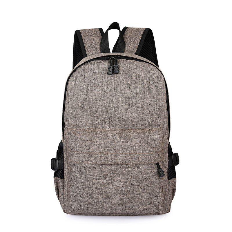 Men Casual Durable Canvas Backpack with USB Port - KHAKI