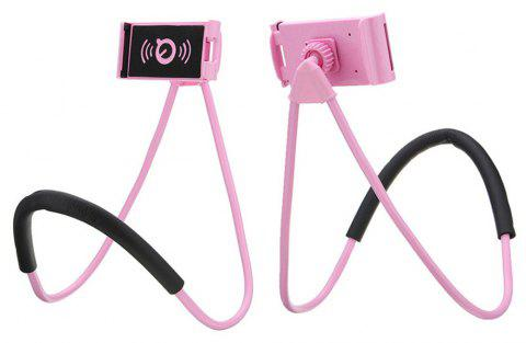 Flexible Lazy Bracket Mobile Phone Neck Hanging Stand Holder for Xiaomi - PINK