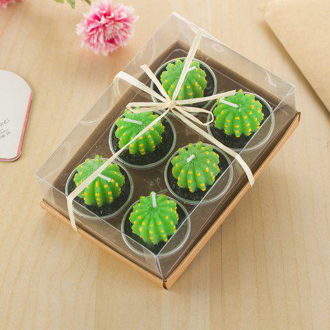 Decorative Cactus Candles Tea Light Candles 6 Pcs - IVY