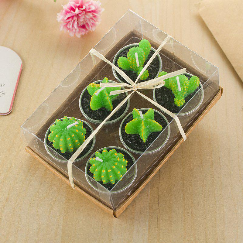Decorative Cactus Candles Tea Light Candles 6 Pcs - GREEN