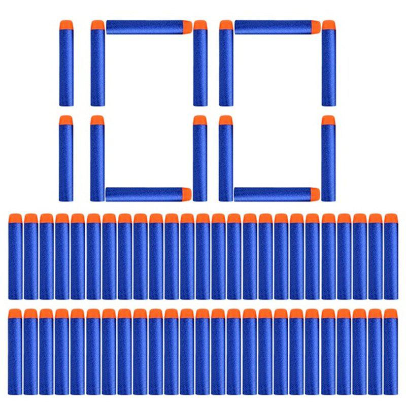 7.2cm Soft Bullet Hollow Hole Foam Refill Dart Ammo for Nerf Toy Gun 100PCS - BLUE