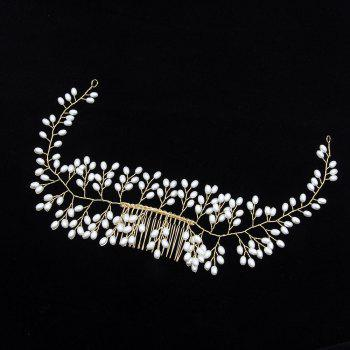 Gold Plated Long Hair Comb  Hair Jewelry for Women Wedding Bride - GOLD