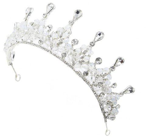 Silver and Red Crystal Crown for Wedding Headband Hair Jewelry - SILVER