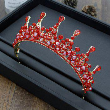 Silver and Red Crystal Crown for Wedding Headband Hair Jewelry - RED