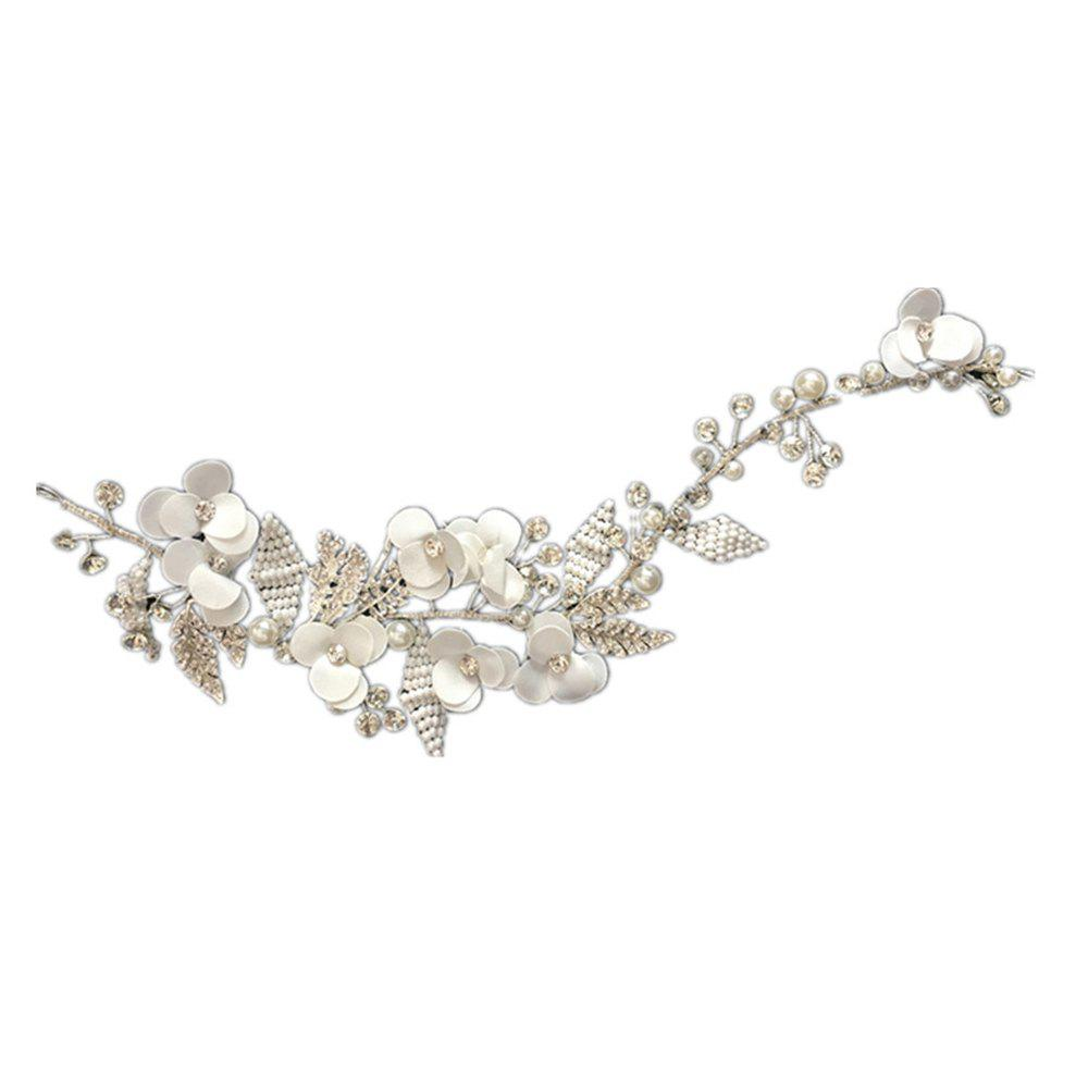 Exqusite Bead Strand Fabric Flower Hair Vine Headband for Wedding Bride Jewelry - WHITE