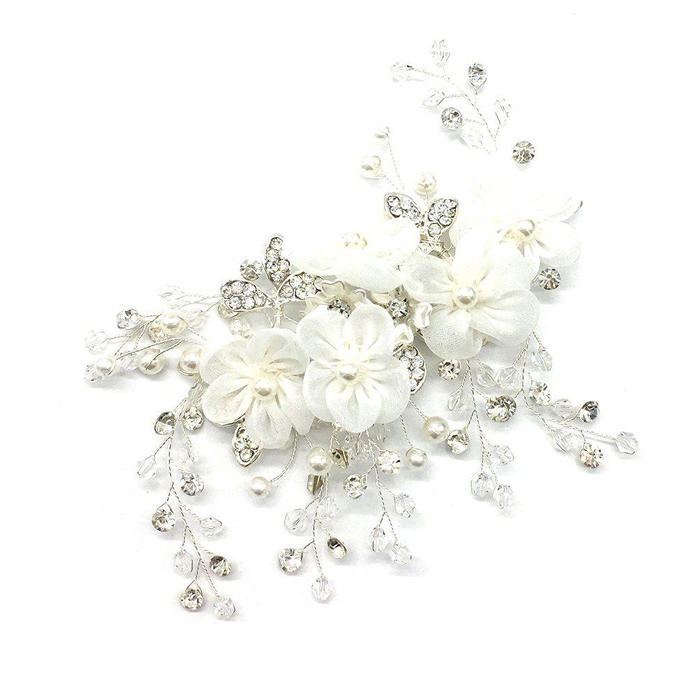 Fabric Flower with Crystal Alloy Hair Jewelry for Wedding Bride - SILVER