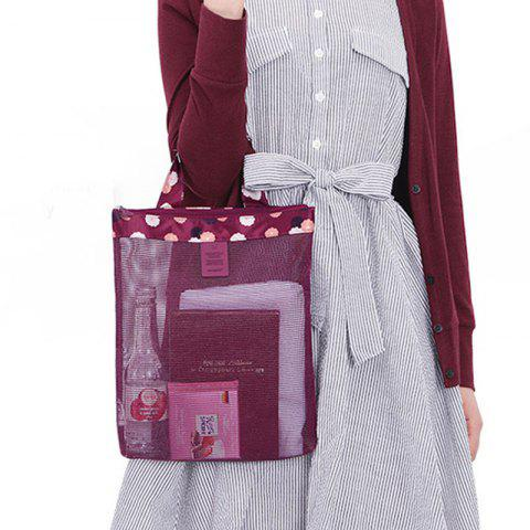 Korean Vogue Style Beach Sports Portable Travel Storage Bag - WINE RED