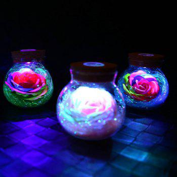 BRELONG LED Colorful Rose Vase Remote Control Glowing Glass Bottles Decoration - PURPLE