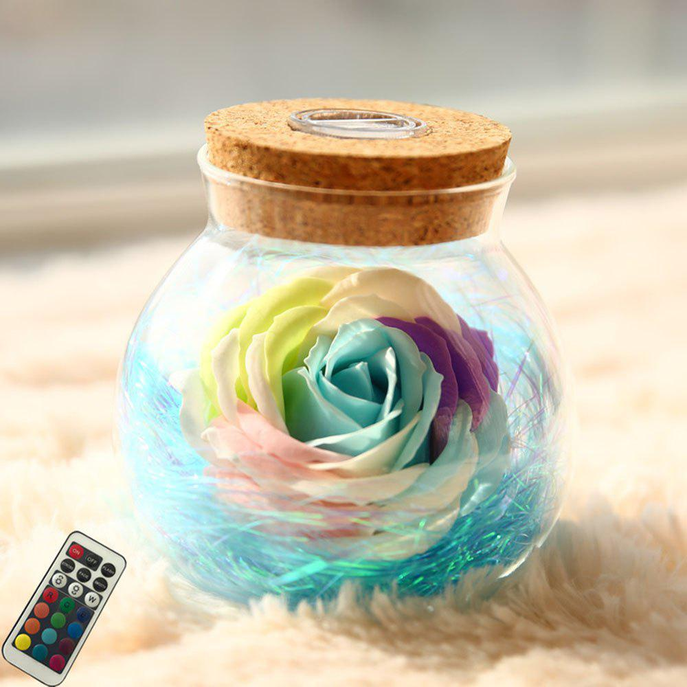 BRELONG LED Colorful Rose Vase Remote Control Glowing Glass Bottles Decoration - BLUE