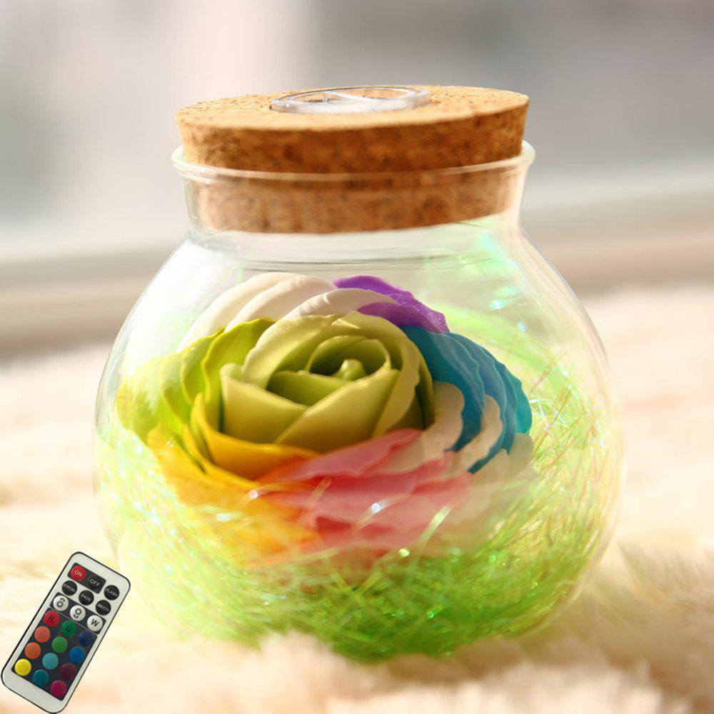 BRELONG LED Colorful Rose Vase Remote Control Glowing Glass Bottles Decoration - GREEN