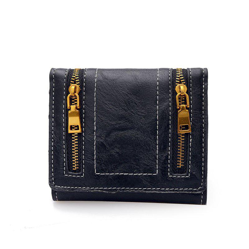 New Fashion Zipper Purse Female Personality - BLACK