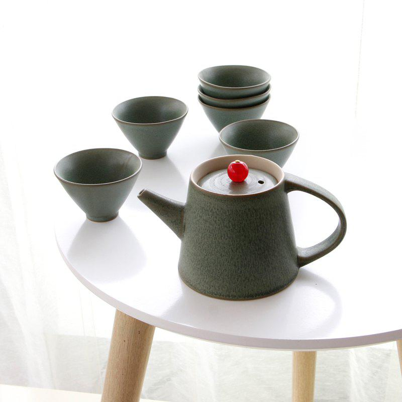 New 7pcs Ceramic  Tea Set Gift Pot 250ML Six Cup Porcelain Coffee Tools Drinkware - GREEN