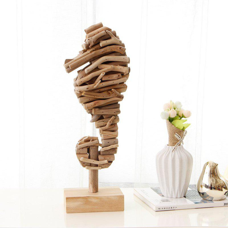Mediterranean Style Wood Sea Horse Figurines Creative Animal Ornaments Home Nautical Decoration Crafts - WOOD