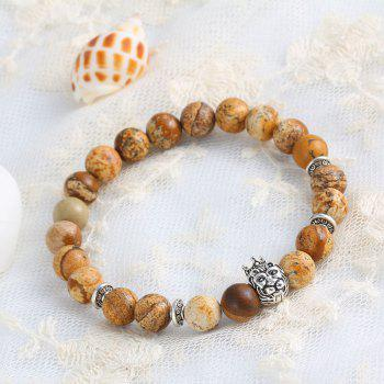 Vintage Beads Buddha Men Pulseiras Masculinas Natural Stone Lion Bracelet For Woman Gift - KHAKI