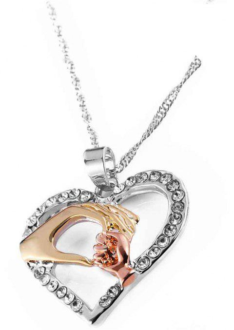 Three Colors Hand in Hand with Heart Collarbone Necklace - ROSE GOLD