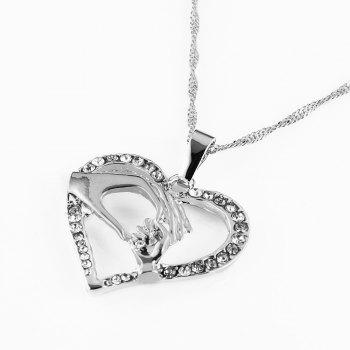 Three Colors Hand in Hand with Heart Collarbone Necklace - SILVER