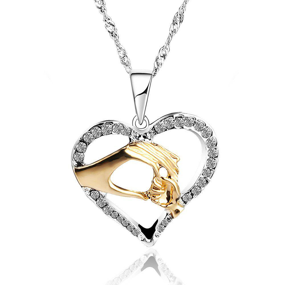Three Colors Hand in Hand with Heart Collarbone Necklace - GOLDEN