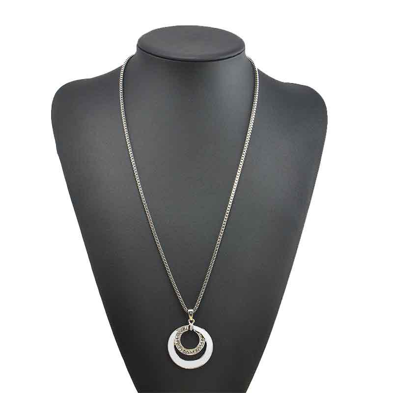 High-end Fashion with Silver Double-ring Necklace - SILVER