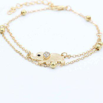 Fashionable Auspicious Small Elephant Titanium Steel Double Layer Female Foot Chain - GOLDEN