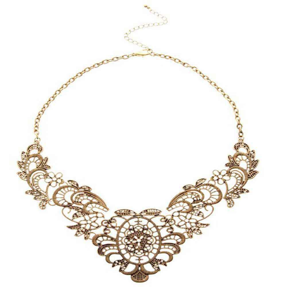 Luxury and Elegant Lace Metal Flowers and Short Necklaces - BRONZED