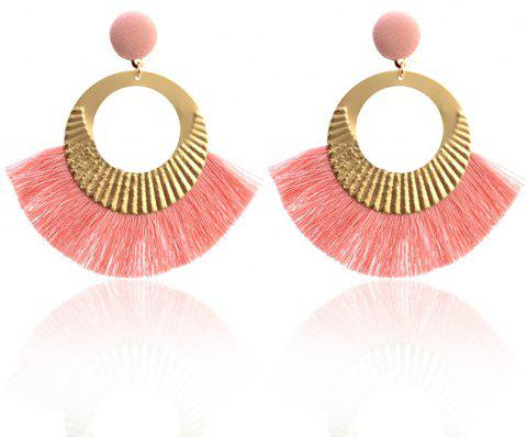Boucles d'oreilles Bohème National Wind Metal Cercle Fan Silk Tassel Wild - Rose