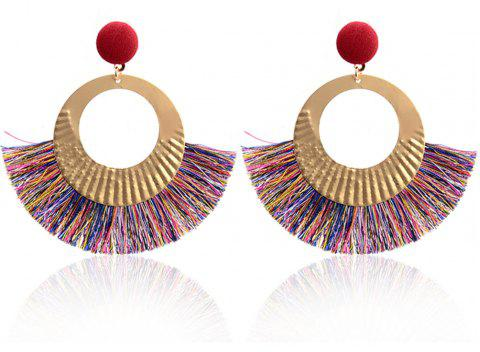 Boucles d'oreilles Bohème National Wind Metal Cercle Fan Silk Tassel Wild - multicolore