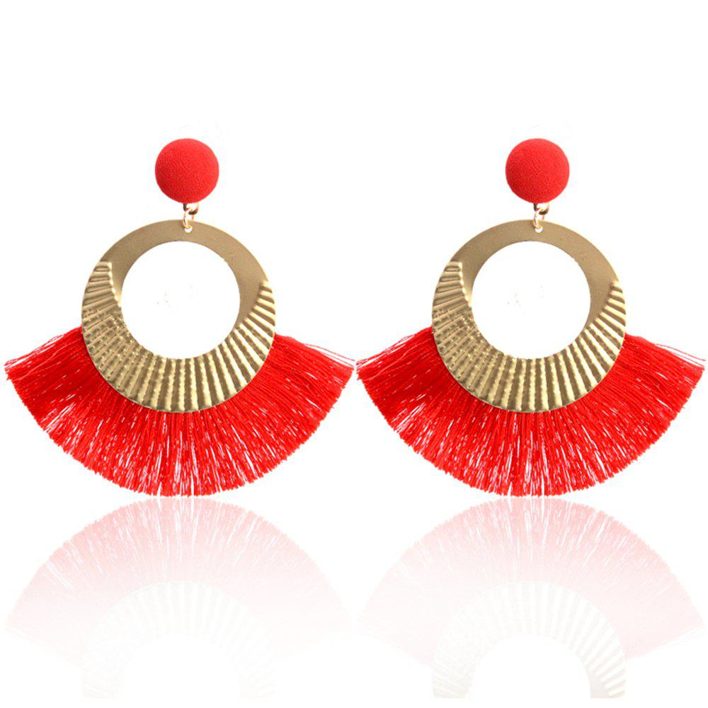 Bohemian Earrings National Wind Metal Circle Fan Silk Tassel Wild - RED