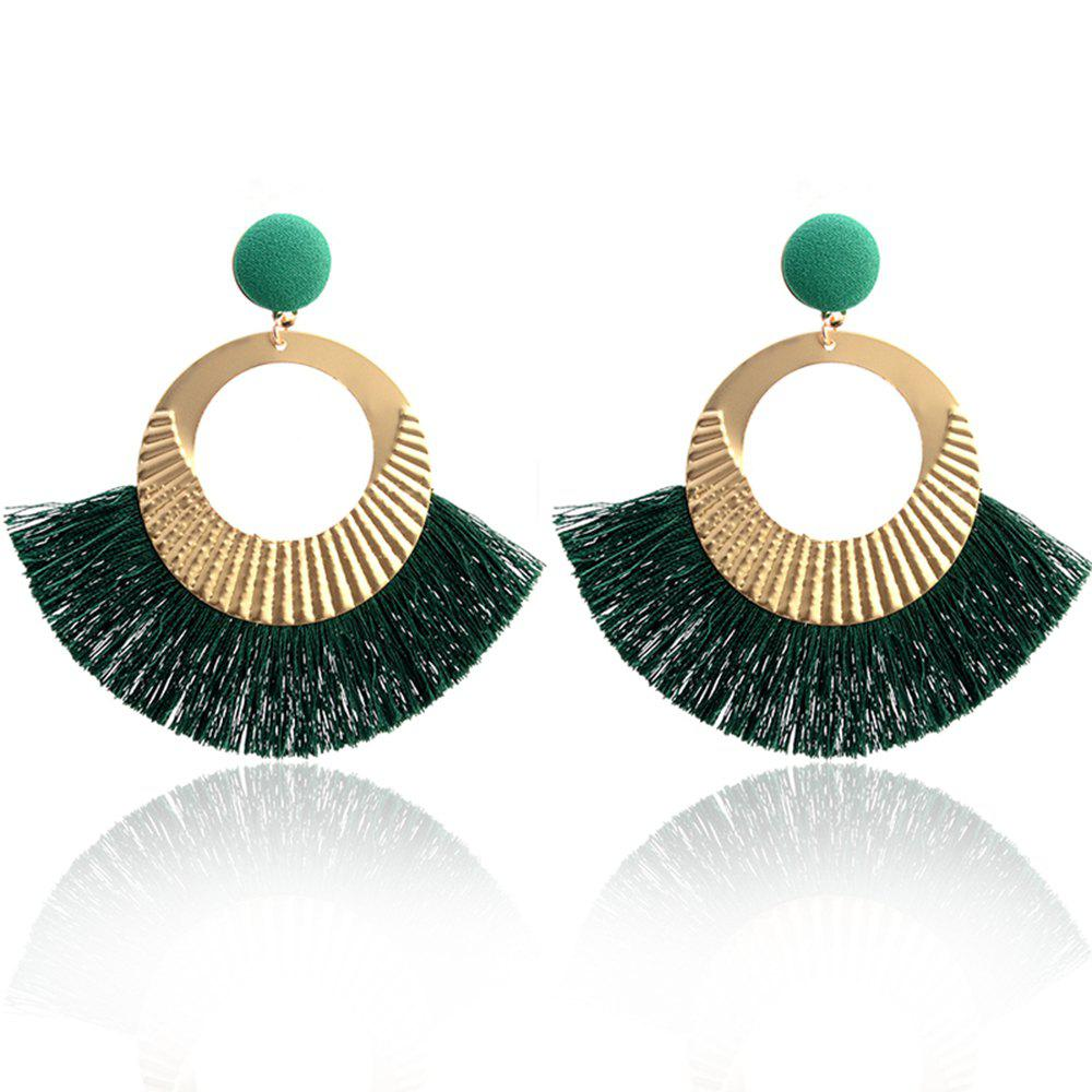 Boucles d'oreilles Bohème National Wind Metal Cercle Fan Silk Tassel Wild - GREEN