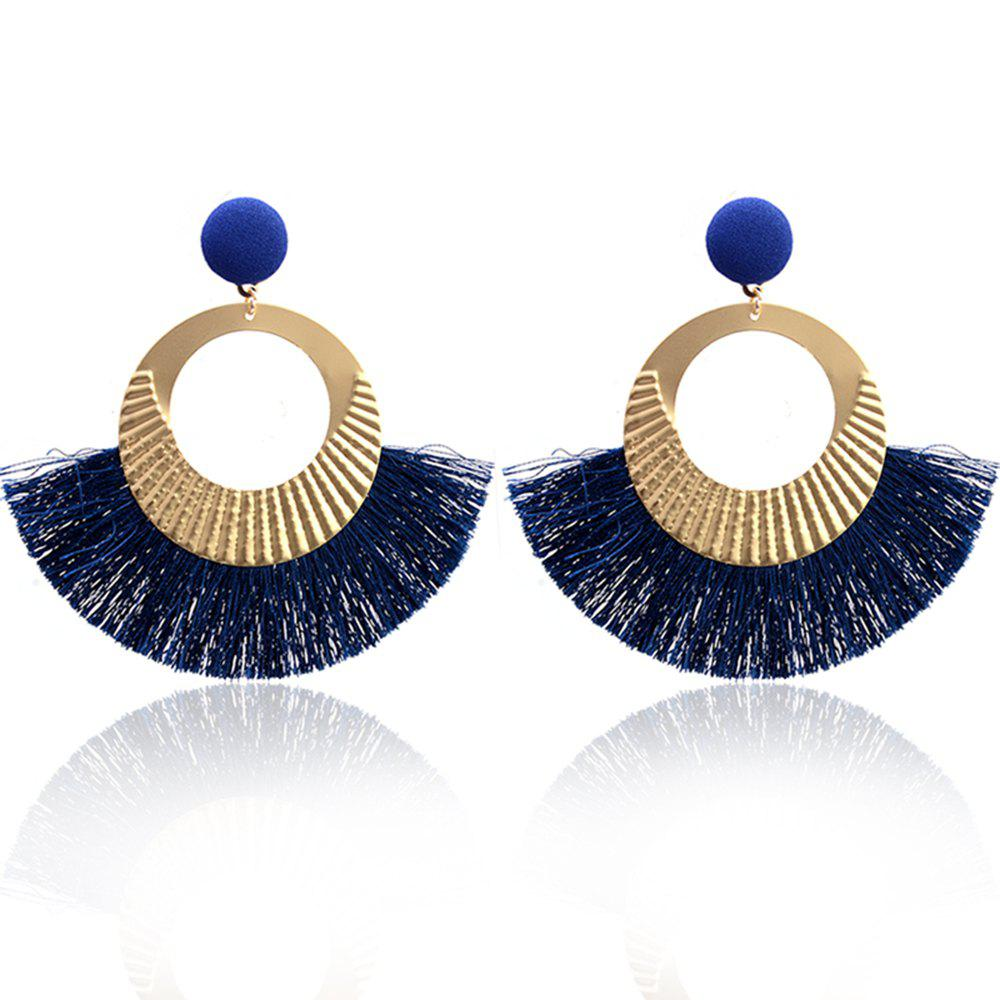 Bohemian Earrings National Wind Metal Circle Fan Silk Tassel Wild - BLUE