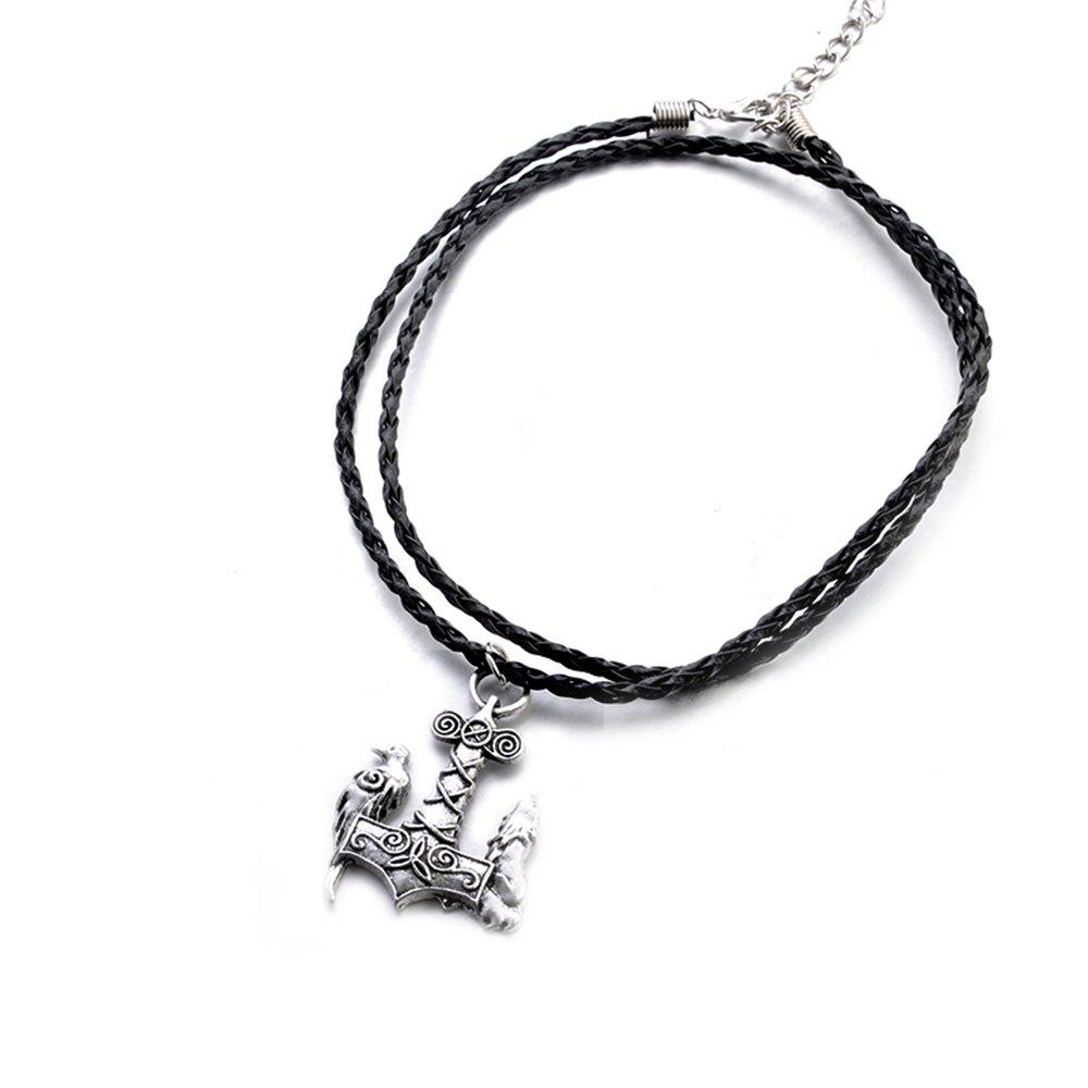 Nordic Mythology God Hammer Austrian Animal Pendant Fashion Necklace Hipster Accessories - SILVER
