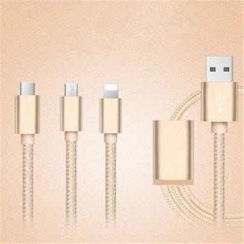 For Apple Mobile for Android Mobile for IPad Flat Panel Multi Head Charger General Charging Line - CHAMPAGNE GOLD