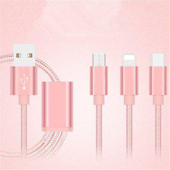 For Apple Mobile for Android Mobile for IPad Flat Panel Multi Head Charger General Charging Line - ROSE GOLD