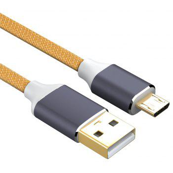 USB 2.0 Micro USB Cable Android Charger 24K Gold Plated Braided 2.4A Fast Sync and Charging Cord - ORANGE 1.5M