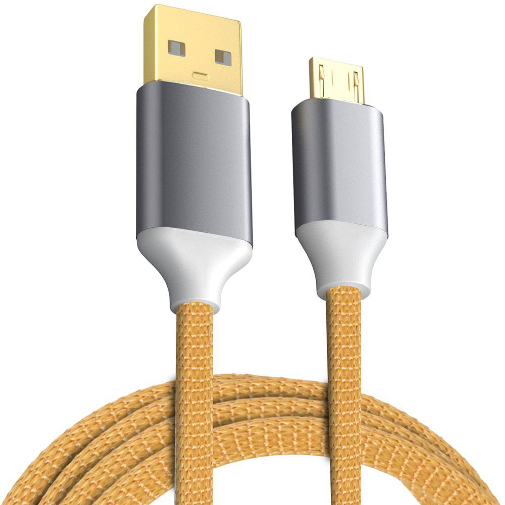 USB 2.0 Micro USB Cable Android Charger 24K Gold Plated Braided 2.4A Fast Sync and Charging Cord - ORANGE 1M
