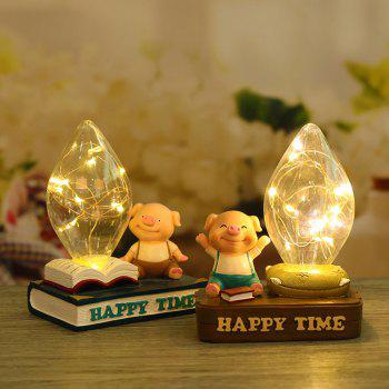 Home Bed Cartoon Pig Night Light Resin Ornaments - WHITE