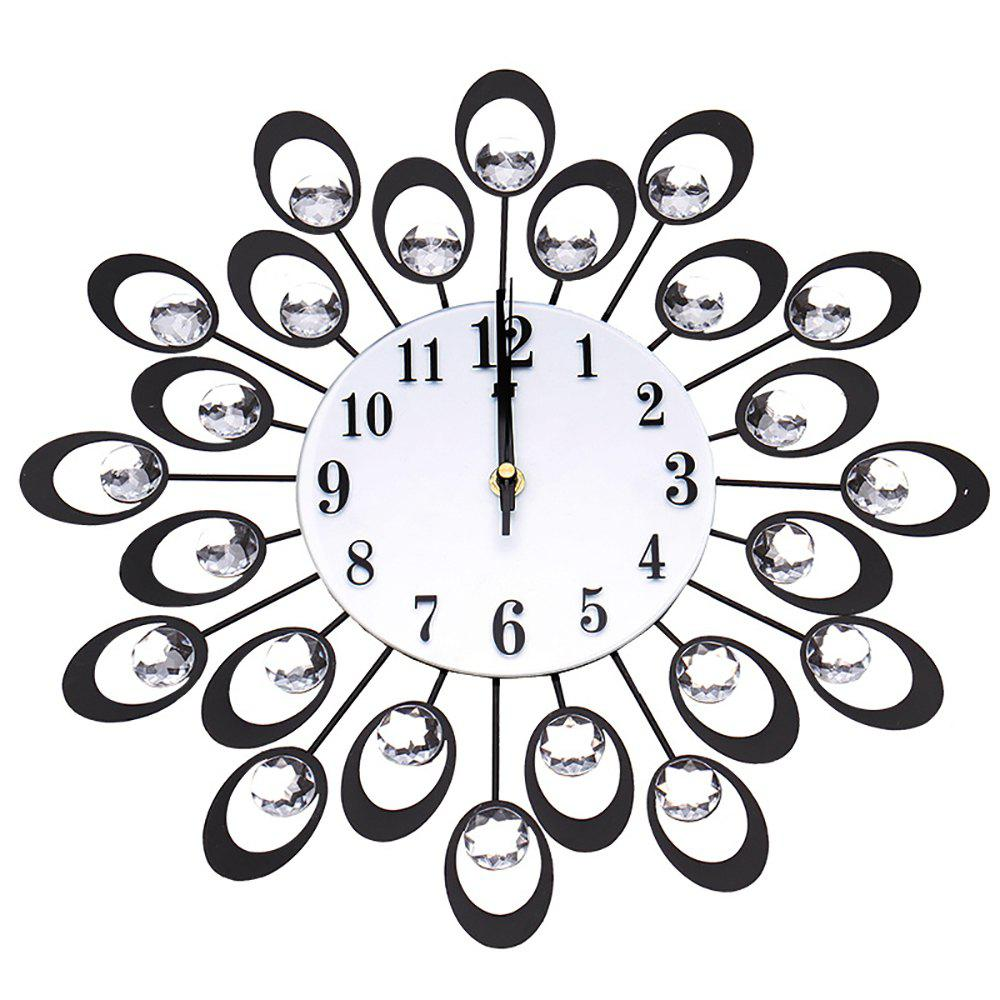 European High-grade Flowers Iron Fashion Mute Bedroom Wall Clock - BLACK