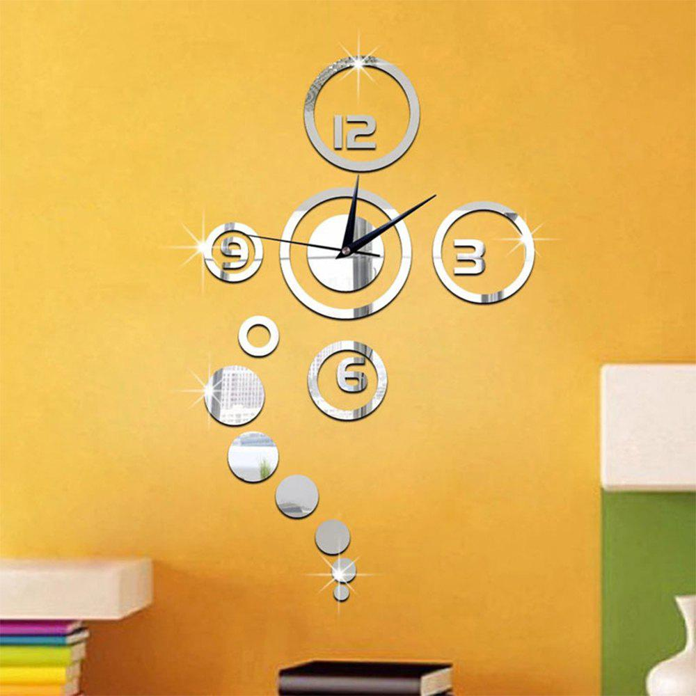 Home Decoration Mirror Living Room Wall Clock - SILVER
