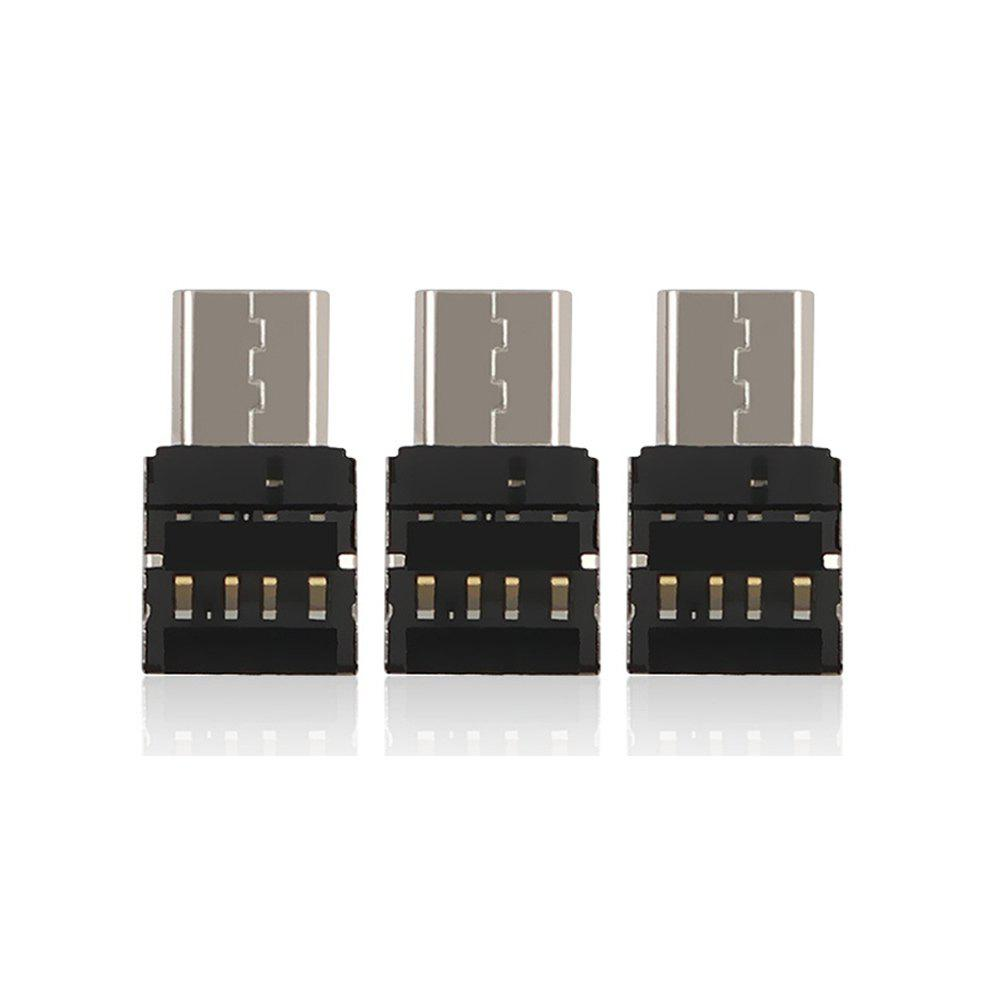 Cwxuan Type-C to USB 2.0 OTG Adapters (3 PCS) - BLACK