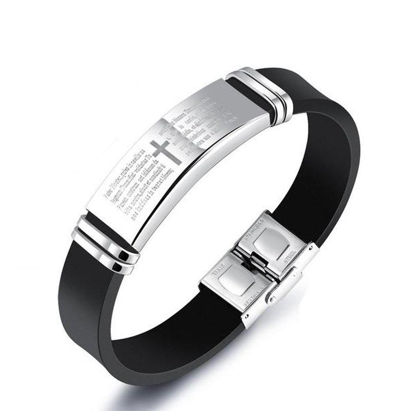 Fashion Men'S Bracelets Silicone Personalized Bangle - BLACK B