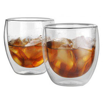 80ML Double Layers Coffee Cup Glass Water Cup - TRANSPARENT