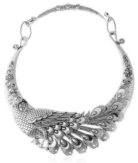 Women Ethnic Bohemian Choker Necklace Peacock Chinese Element Maxi Statement Collar Jewerly - SILVER
