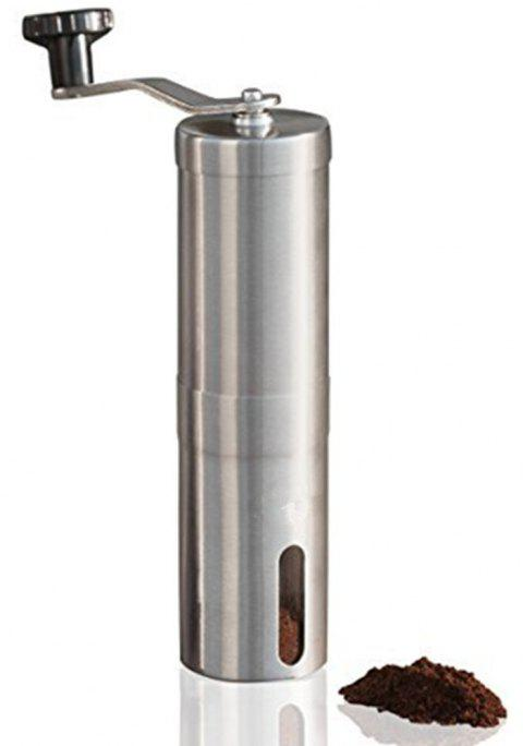 Manual Coffee Grinder Conical Burr Mill Brushed Stainless Steel - SILVER