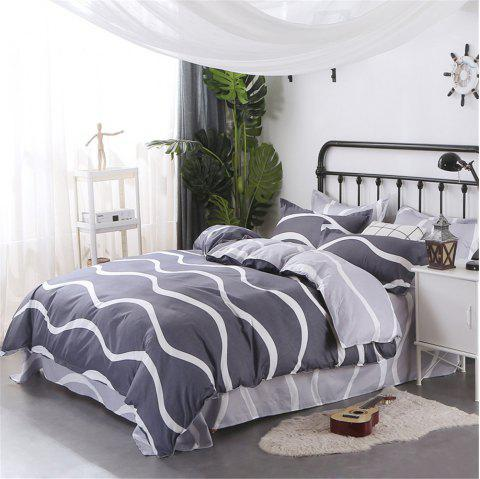 Four Pieces of Bedding Bedding Bag of 1.5M Student Sheets - WHITE GREY TWIN