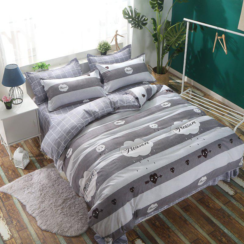 Bedclothes 4 Pieces 1.5/1.8M Bedsheets Are Covered By A Student Dormitory 1.2 Single Bed Quilt 3 Sets 4 - WHITE GREY FULL