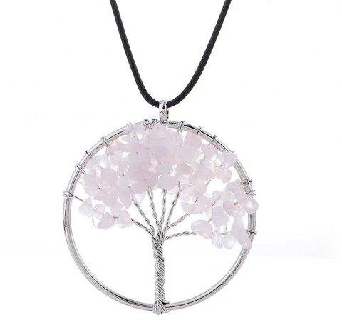 Natural Pink Crystal Necklace Energy Stone Handmade Jewelry - PINK