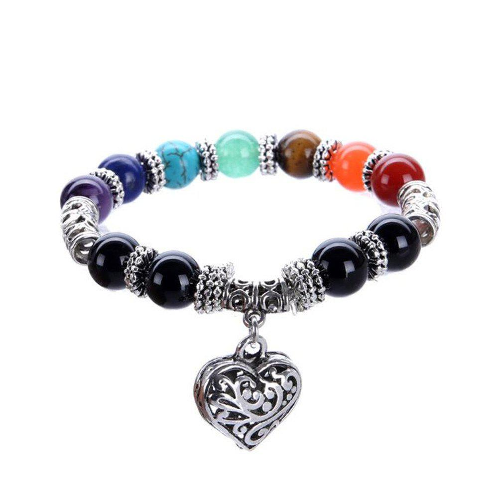 Stylish Rainbow Seven Chakras Natural Onyx Stone Yoga Energy Heart Bracelet Woman - COLORMIX