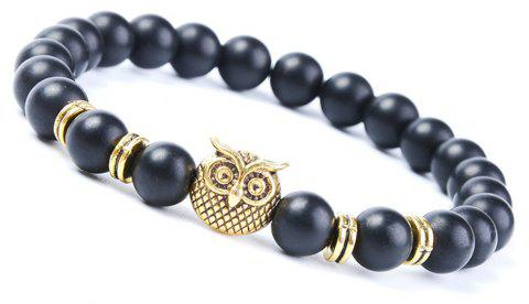 Fashion Matte Blackstone Bracelet Woman Owl Jewelry - GOLDEN