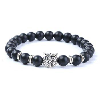 Fashion Matte Blackstone Bracelet Woman Owl Jewelry - SILVER